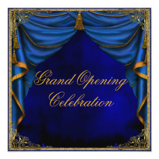 Royal Blue Gold Corporate Business Grand Opening 5.25x5.25 Square Paper Invitation Card