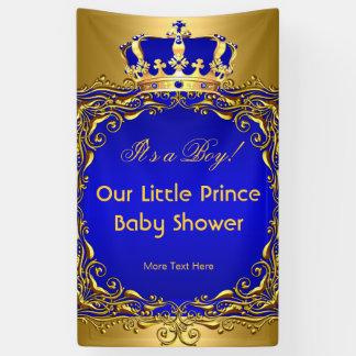Royal Blue Gold Crown Baby Shower Boy Banner