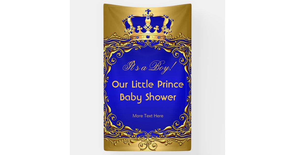 Royal Blue Gold Crown Baby Shower Boy Banner Zazzle Com