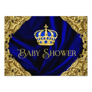 Royal Blue Gold Crown Baby Shower Invitation