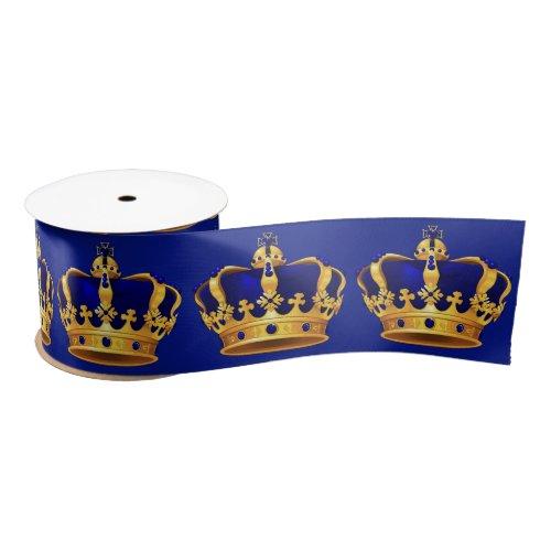 Royal Blue Gold Crown Fancy Prince Satin Ribbon