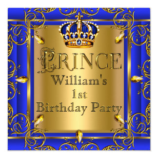 Royal Blue Gold Crown Prince 1st Birthday Boys 2 5.25x5.25 Square Paper Invitation Card