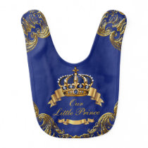 Royal Blue Gold Crown Prince Baby Bib