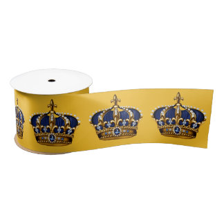 Royal Blue Gold Crown Prince Baby Boy Shower Satin Ribbon