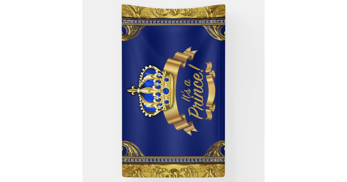Royal Blue Gold Crown Prince Baby Shower Banner Zazzle Com