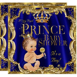 Royal Blue Gold Crown Prince Baby Shower Brunette Card