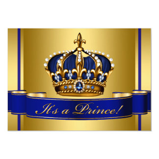 Royal Blue Gold Crown Prince Baby Shower Card