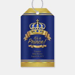 Royal Blue Gold Crown Prince Baby Shower Gift Tags