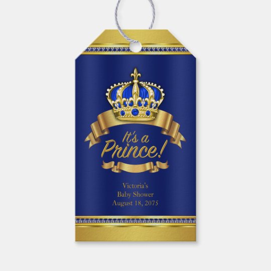 Royal Blue Gold Crown Prince Baby Shower Gift Tags Zazzle Com