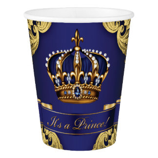 Royal Blue Gold Crown Prince Baby Shower Paper Cup