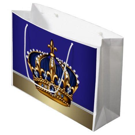 Royal Blue Gold Crown Prince King Large Gift Bag