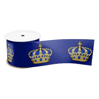 Royal Blue Gold Crown Prince Satin Ribbon