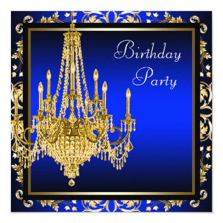 Royal Blue Gold Damask Chandelier Birthday Party Card