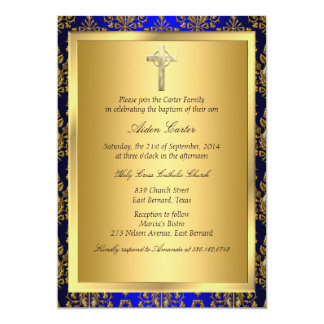 Royal Blue & Gold Damask Cross Baptism Invite