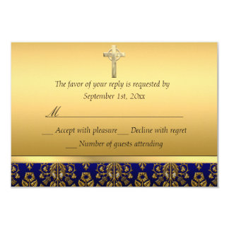Royal Blue & Gold Damask Cross Baptism RSVP Card