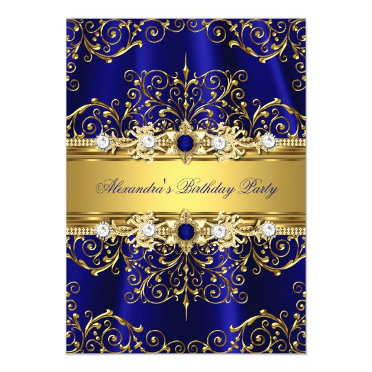 Royal Blue & Gold Damask Elegant Birthday Party Card ...
