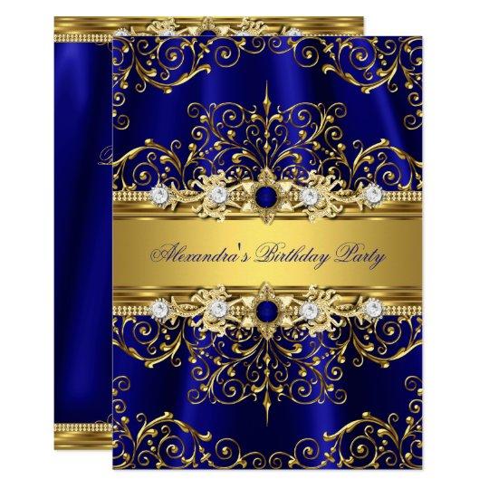 Royal Blue Gold Damask Elegant Birthday Party Invitation Zazzle Com