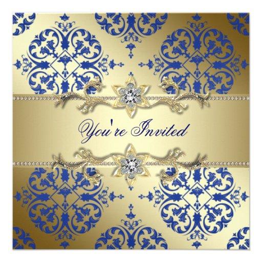 "Royal Blue Gold Damask Party Invitations 5.25"" Square Invitation Card   Zazzle"