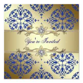 Royal Blue Gold Damask Party Invitations