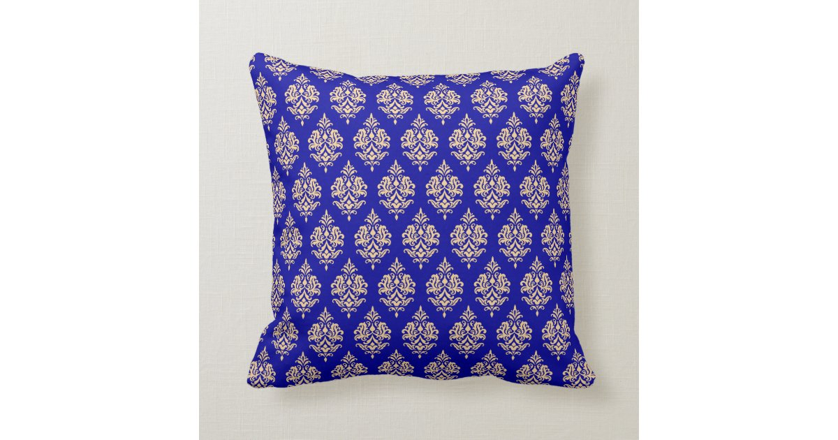 Royal blue gold damask pattern throw pillow zazzle for Royal blue couch pillows