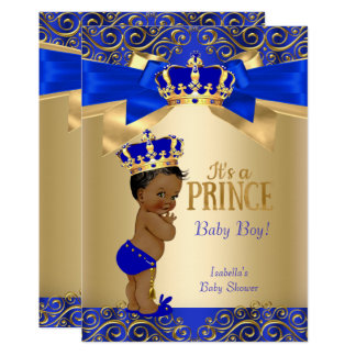 Royal Blue Gold Damask Prince Baby Shower Ethnic Card