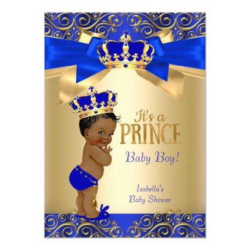 Royal Blue Gold Damask Prince Baby Shower Ethnic Card   Zazzle