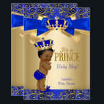 "Royal Blue Gold Damask Prince Baby Shower Ethnic Invitation<br><div class=""desc"">Prince Boy Baby Shower Royal Blue Gold Damask. Little Prince Baby Shower. Elegant Gold Crown and Bow. Elite Ethnic African American Baby Shower.</div>"