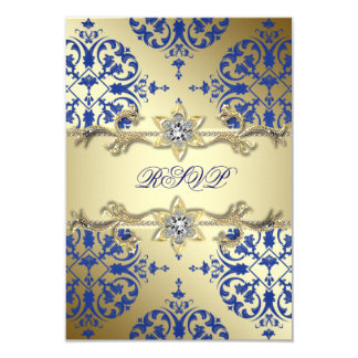 Royal Blue Gold Damask RSVP Card