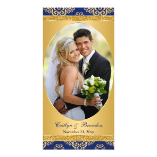 Royal Blue, Gold Damask Wedding Photo Card