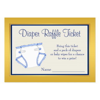 Royal Blue Gold Diaper Raffle Ticket Large Business Card