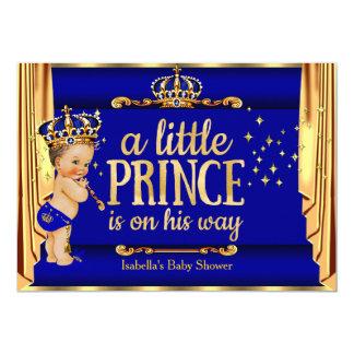 Royal Blue Gold Drapes Prince Baby Shower Brunette Card