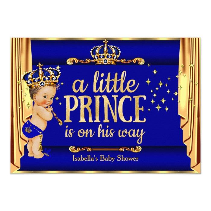 royal blue gold drapes prince baby shower brunette card zazzle
