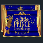 """Royal Blue Gold Drapes Prince Baby Shower Ethnic Card<br><div class=""""desc"""">Prince Boy Baby Shower Faux Gold Foil Little Prince is on his way,  Baby Shower. Elegant Blue Gold Crown. Prince Baby Shower Royal Navy Blue Gold. Ethnic African American Baby Shower Boy. Sparkle Golden Drapes Curtains Gold Crown Boy Baby Shower. Little Prince is on his way</div>"""
