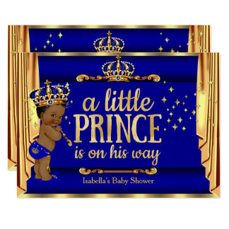 High Quality Royal Blue Gold Drapes Prince Baby Shower Ethnic Card