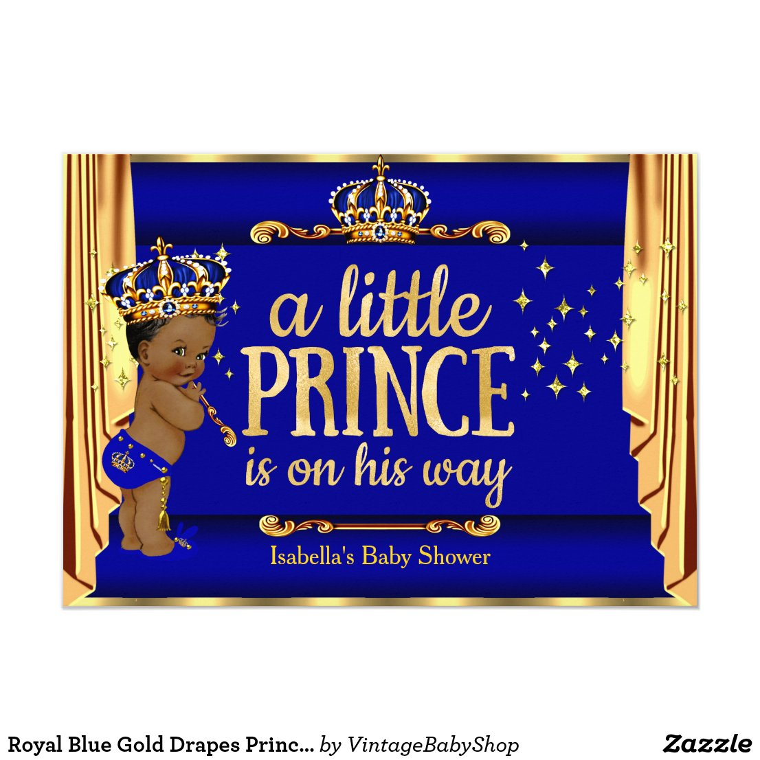 Royal Blue Gold Drapes Prince Baby Shower Ethnic