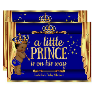 7559270e04bc9 Royal Blue Gold Drapes Prince Baby Shower Ethnic Invitation