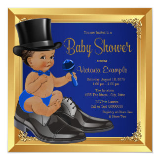 Royal Blue Gold Ethnic Little Man Baby Shower Card
