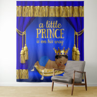 Royal Blue Gold Ethnic Prince Baby Shower Backdrop