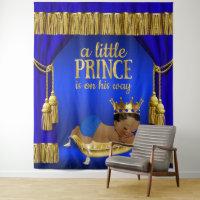 Royal Blue Gold Ethnic Prince Baby Shower Backdrop