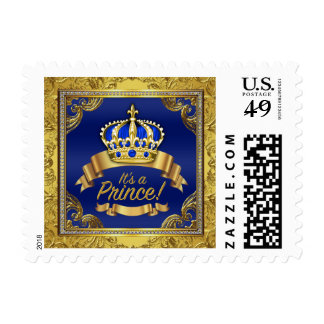 Royal Blue Gold Fancy Prince Baby Shower Postage