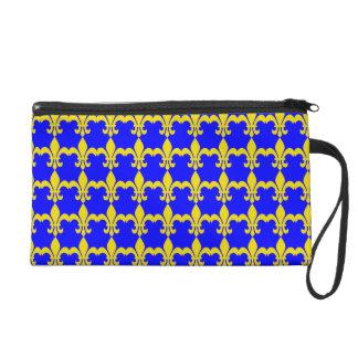 Royal Blue & Gold Fleur de lis Design Bagettes Bag Wristlet Purses