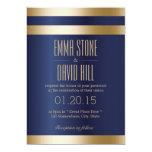 Royal Blue Gold Foil Stripes Wedding Invitations