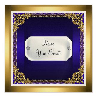 Royal Blue Gold Frame Birthday Party  Invitation