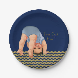 Royal Blue Gold Glitter Chevron Boy Baby Shower Paper Plate
