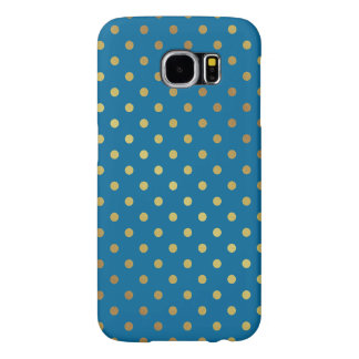 Royal Blue Gold Glitter Dots Adorable Pattern Samsung Galaxy S6 Case