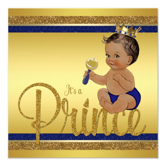 royal blue gold glitter ethnic prince baby shower card | zazzle, Baby shower invitations