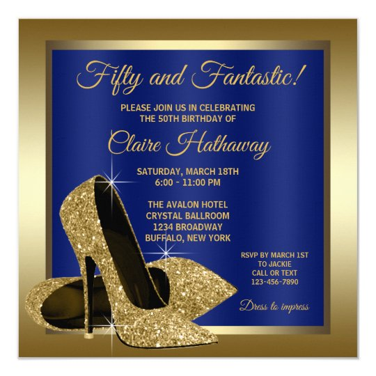Royal Blue Gold High Heels Birthday Party Invitation