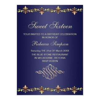 Royal Blue & Gold Leaf Birthday Invitation