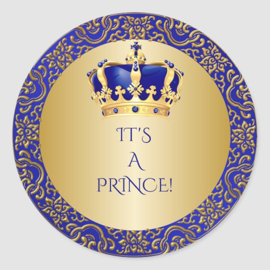 Royal blue gold little prince crown classic round - Sticker petit prince ...