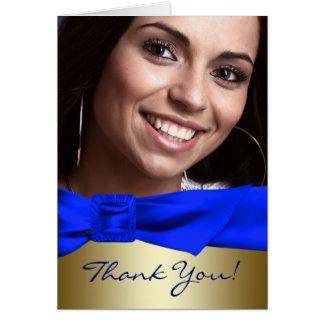 Royal Blue Gold Photo Quinceanera Thank You Cards